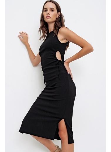 Pink Park Beli Dekolteli Crop Triko Elbise FS00016 Siyah